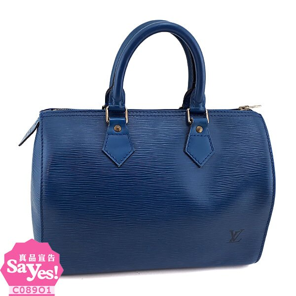 【奢華時尚】LV M43015 藍色EPI麥穗壓紋牛皮手提Speedy 25波士頓包(八成新) #21133