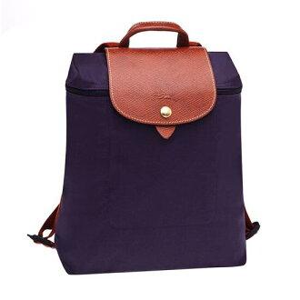 【LONGCHAMP】 LE PLIAGE 深紫折疊後背包
