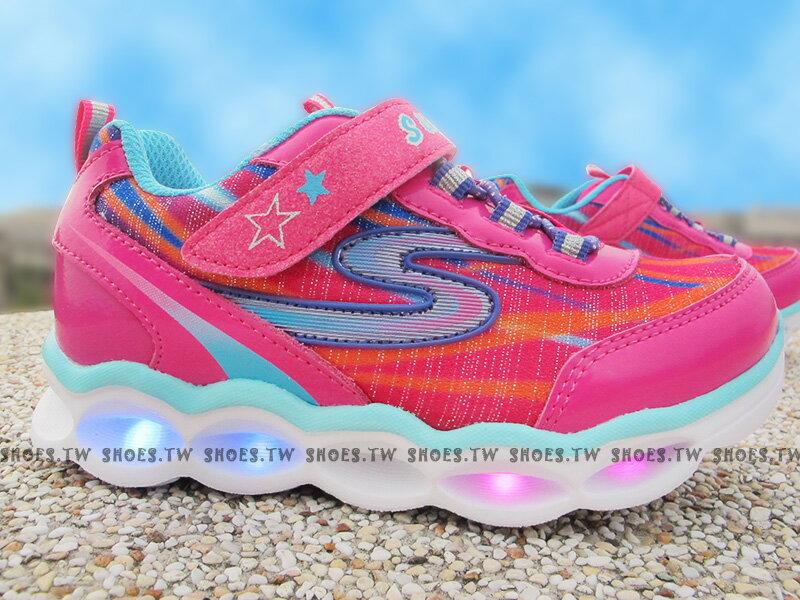 [最後一雙:14cm]《下殺5折》Shoestw【10613NHPMT】SKECHERS 小童鞋 電燈鞋 LED 桃紅 黏帶 運動鞋 1