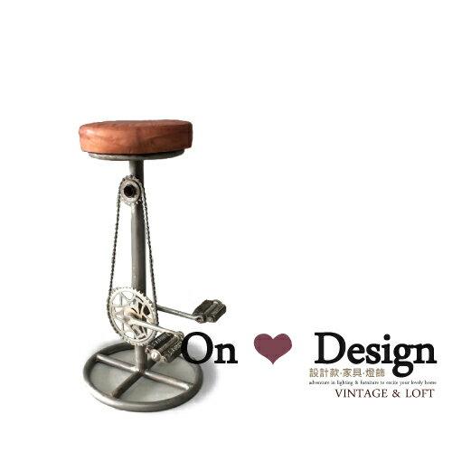 On ~ Design ❀INDUSTRIAL BAR STOOL 工業  腳踏車 真皮吧