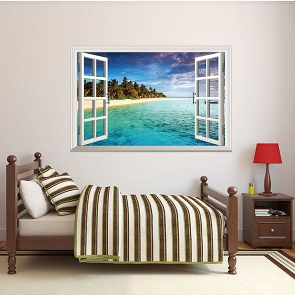 BO雜貨【YV0508】3D假窗戶 沙灘風景 居家裝潢佈置 壁貼