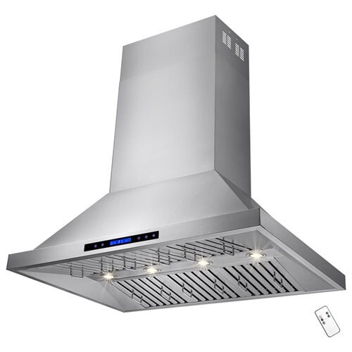 "48"" Stainless Steel Island Mount Range Hood Dual Motor Touch Screen Display Light Lamp 1"