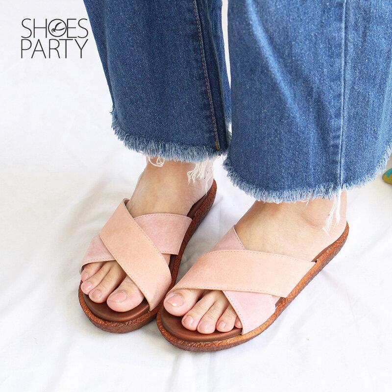 【S2-18708L】Simple+雙帶交叉漢堡底拖鞋_Shoes Party 1