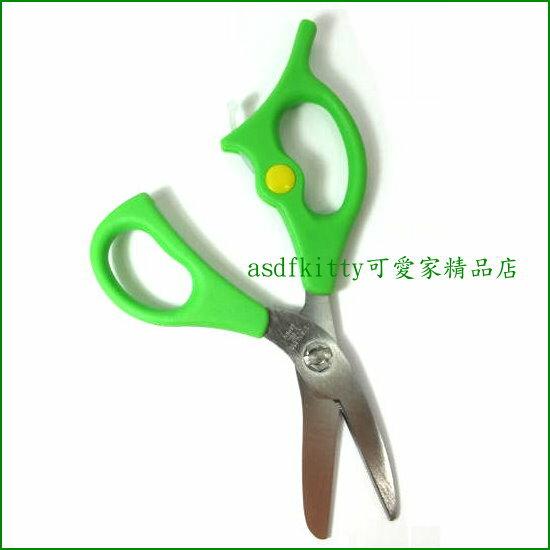 asdfkitty可愛家☆杉山綠色可拆洗食物不鏽鋼剪刀-硬盒裝-好攜帶-可剪副食品-粗刀刃可剪肉骨類較硬食材-日本製
