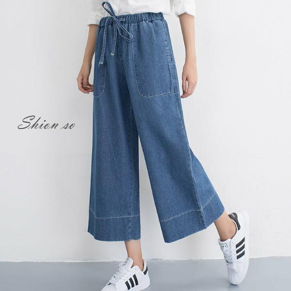享瘦衣舍中大尺碼【B7201】綁帶造型寬管牛仔褲
