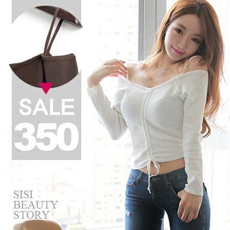 SISI~L6018~春纖迷人性感一字領細肩帶抽繩綁帶短款上衣吊帶露肩長袖針織衫