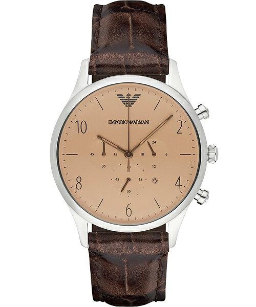 EMPORIO ARMANI/AR1878復刻古典紳士計時腕錶/香檳面43mm