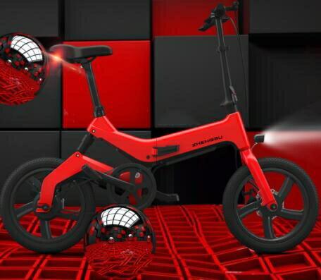 【快速出貨】電動車  16寸新款折疊電動自行車 鋰電池助力電瓶車男女式小型電動車 七色堇 七色堇 新年春節  送禮