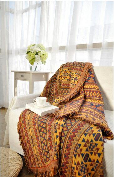 美式鄉村線毯針織地毯休閒蓋毯沙發巾沙發毯復古-波希米亞/單售