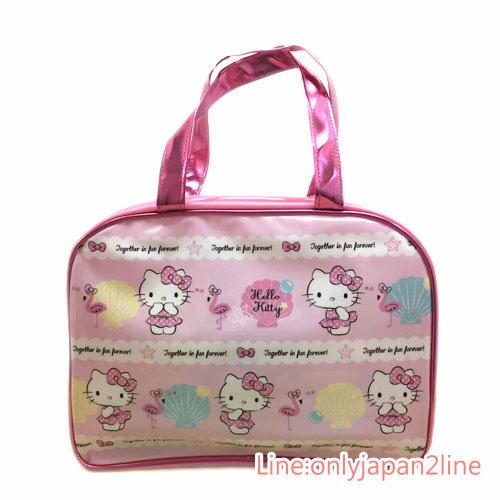 【真愛日本】17032400022 防水手提包-KT貝殼桃AAK 三麗鷗 Hello Kitty 凱蒂貓 防水 包包