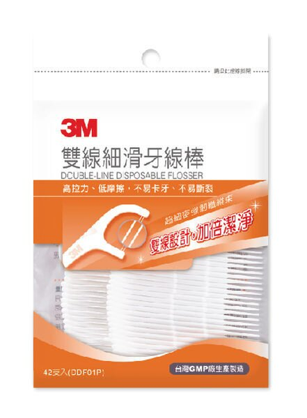 【3M】 雙線細滑牙線棒 42入/包 - 限時優惠好康折扣