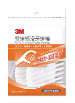 【3M】 雙線細滑牙線棒 42入/包