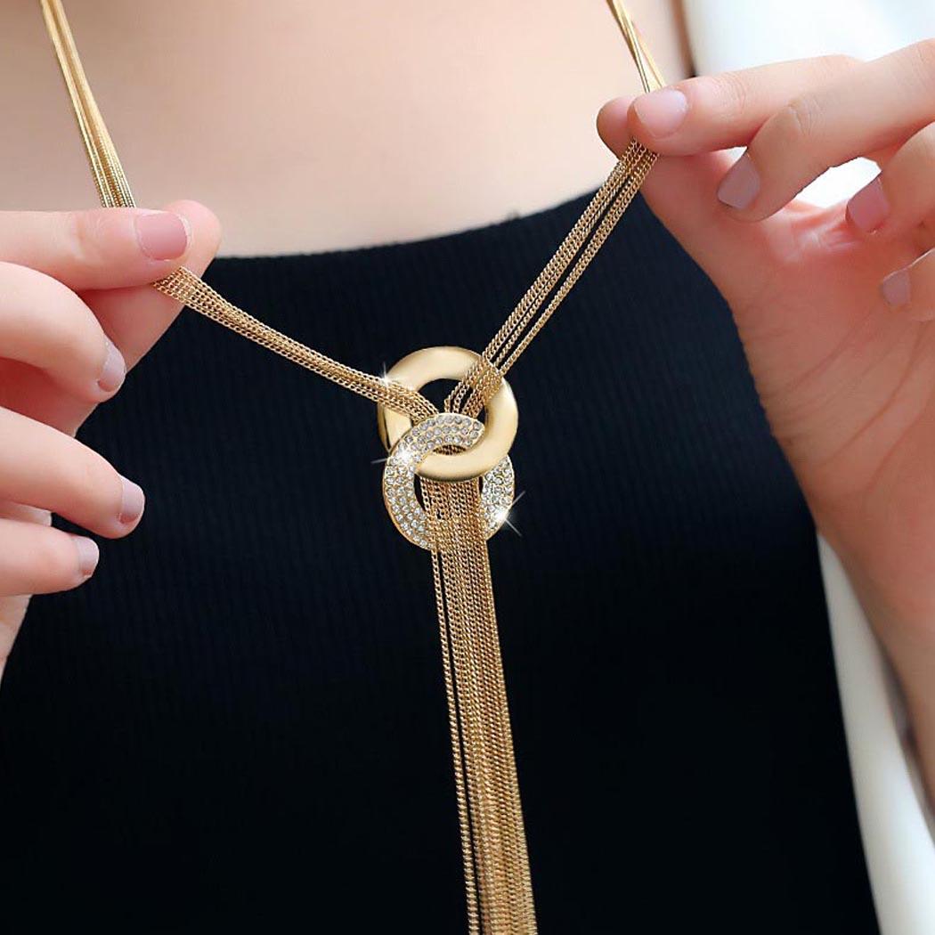 Rhinestone Metal Pendant Chain Statement Jewelry Necklace 0