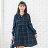 棉麻--森林系典雅甜美荷葉蝴蝶繫帶格紋寬鬆修身V領長袖洋裝(藍L-3L)-X327眼圈熊中大尺碼 0