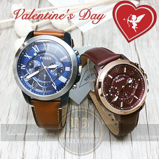 FOSSIL美式休閒品牌Grant羅馬情人皮帶對錶FS5151/ES4116公司貨/禮物/情人節