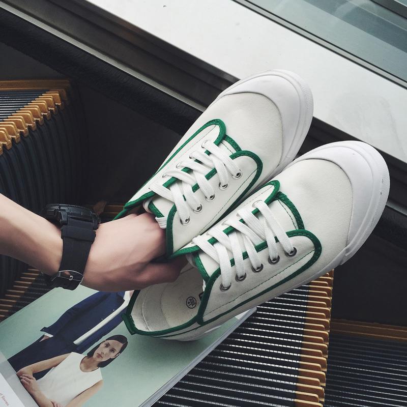 16年韓國休閑款小清新情侶低幫拼色帆布鞋學院風簡約低幫休閑鞋男