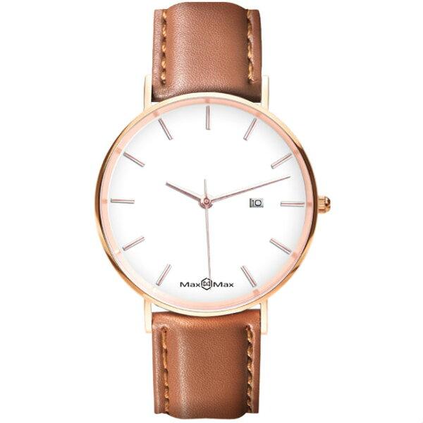 MaxMaxMAS7019-3質感極簡風皮革腕表錶-咖啡42mm
