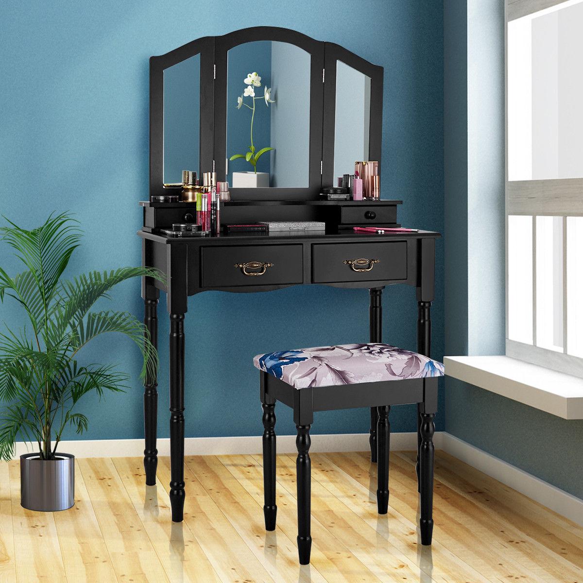 Costway Black Tri Folding Mirror Vanity Makeup Table Stool Set Bathroom W 4 Drawers