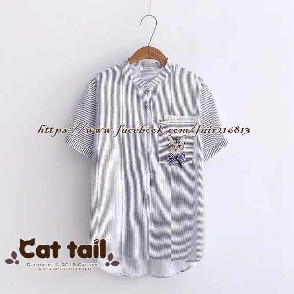 《貓尾巴》CH-01936日系立領貓咪刺繡短袖襯衫(森林系日系棉麻文青清新)