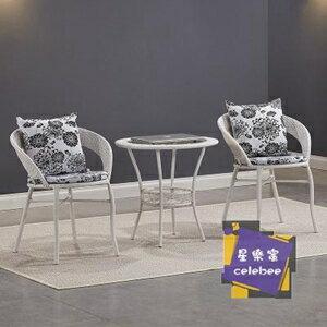休閒桌椅 陽台桌椅藤椅三件套組合小茶幾簡約單人椅子休閒戶外室外庭院騰椅T 4色【全館免運 限時鉅惠】
