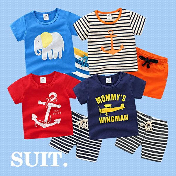亮彩卡通圖案短袖上衣+條紋短褲0515(紅藍橘淺藍)【K12352】