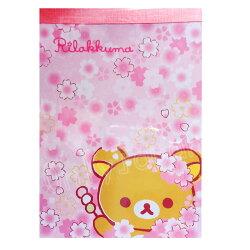 【真愛日本】18050700023 方型便條紙-懶熊大頭櫻花 san-x 拉拉熊 便條本 便條紙 文具