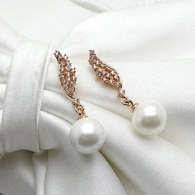 ~玫瑰金耳環925純銀鑲鑽耳飾~唯美氣質天使之翼情人節生日 女飾品2色73gs245~ ~