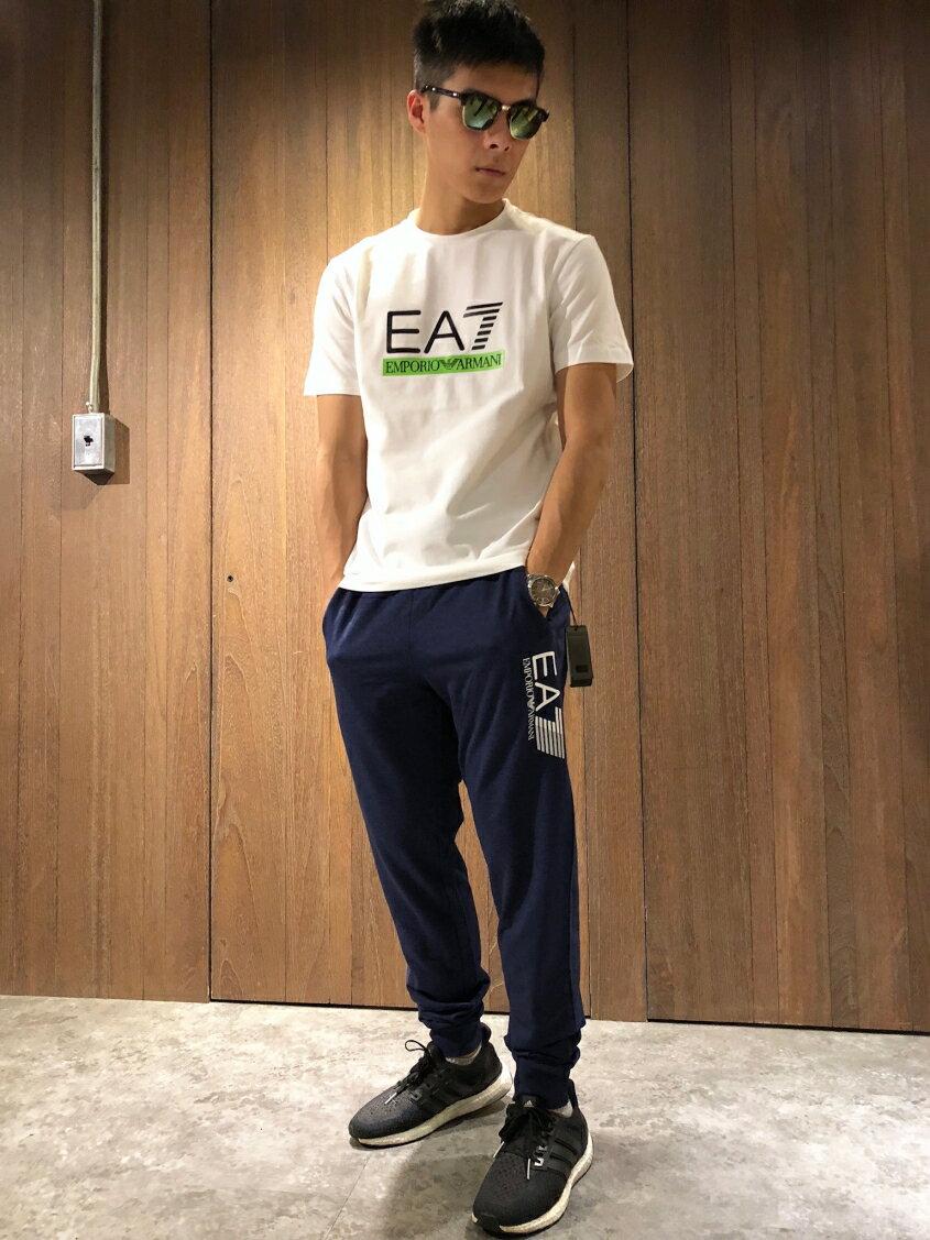 美國百分百【全新真品】Emporio Armani EA7 休閒褲 運動褲 長褲 棉褲 褲子 男裝 藏藍 J095