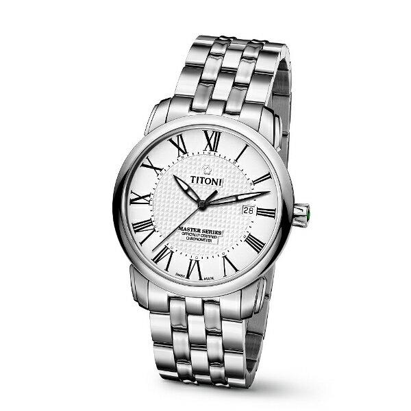 TITONI瑞士梅花錶大師系列83788 S-314羅馬天文台認證機械腕錶/白面41mm