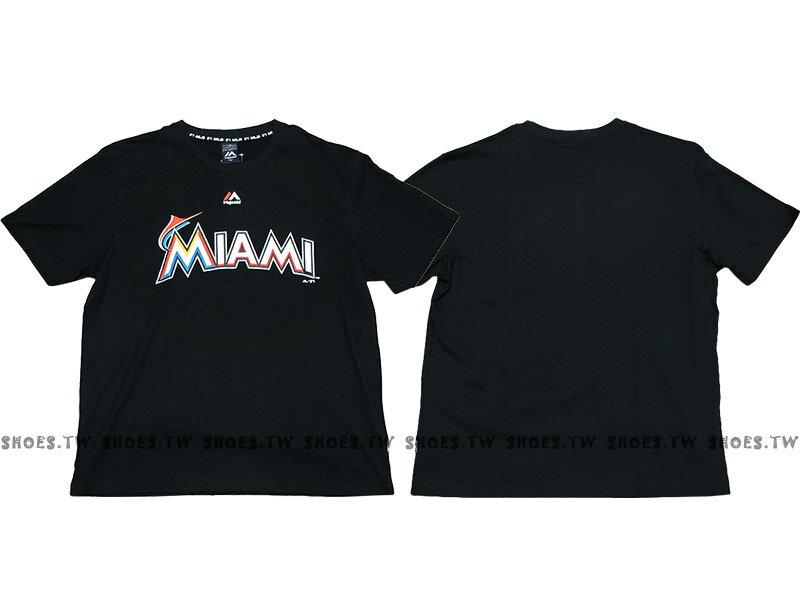 Shoestw【6730201-006】MLB 美國大聯盟 MAJESTIC 短袖 棉 T恤 馬林魚隊 LOGO 黑色 0