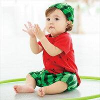 樂天線上婦幼展-點數最高15倍送 媽咪用品推薦日本空運nissen  -童裝-假扮玩具連身衣褲(附帽子)-紅色系(西瓜)  媽咪童裝kids004