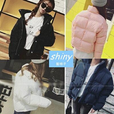 9折~V0330~shiny藍格子~溫暖冬意.街頭潮流超輕保暖加厚短款長袖外套