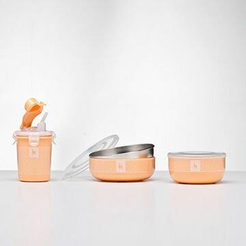 美國【Kangovou】 小袋鼠不鏽鋼安全兒童餐具簡配組(奶油橘)