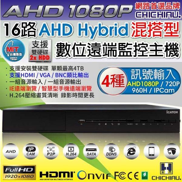 弘瀚--【CHICHIAU】16路AHD 1080P台製iCATCH數位高清遠端監控錄影主機-DVR