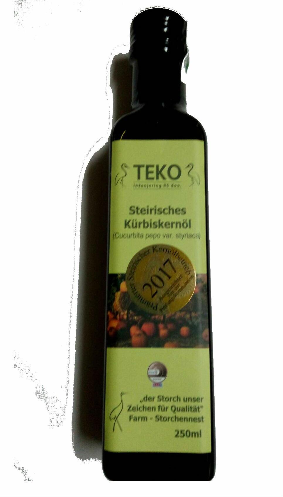 《小瓢蟲生機坊》鸛巢 - TEKO施蒂亞特級南瓜籽油 250ml/罐100%冷壓初榨南瓜籽油 南瓜籽油 油品 養身保健