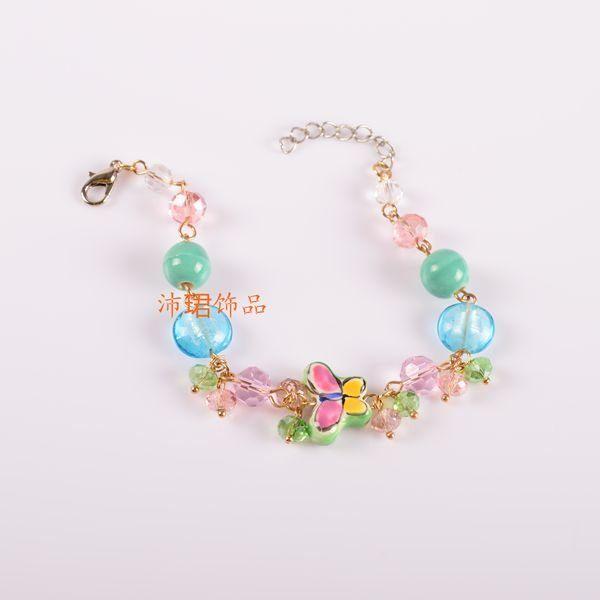 飾品 獨家新品 陶瓷 貝殼 水晶手工串珠手鏈女生手飾蝴蝶與花