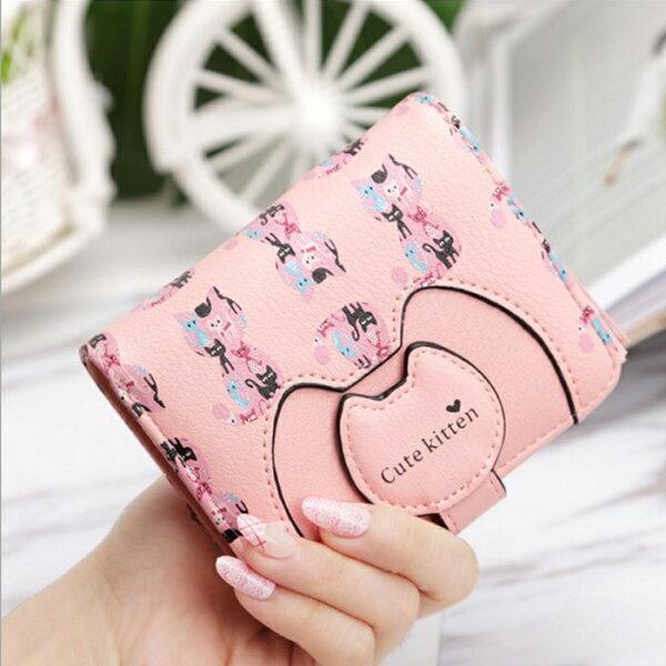 糖衣子輕鬆購【DZ0454】韓版卡通多功能貓咪印花短版皮夾手拿包零錢包短夾