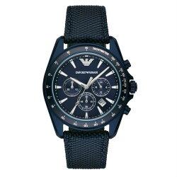 【Emporio Armani】亞曼尼 AR6132 機能品味兼具 現代紳士計時腕錶 深藍 43mm 公司貨