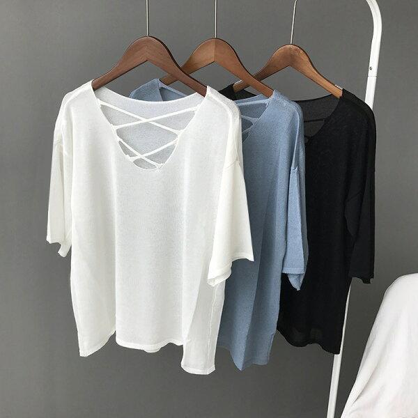交叉鏤空款針織打底休閒冰絲短袖T恤樂天時尚館。預購。[全店免運]