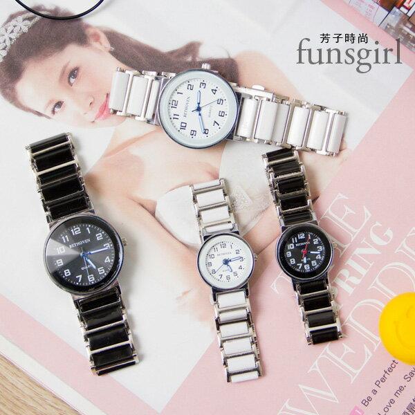 數字大小款對錶陶瓷腕錶手錶-2色~funsgirl芳子時尚【B230043】