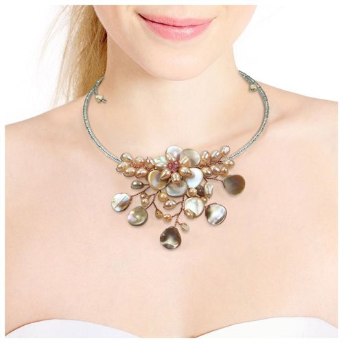 Pretty Pink MOP Flower Ray Choker Wrap Necklace (Thailand) 2