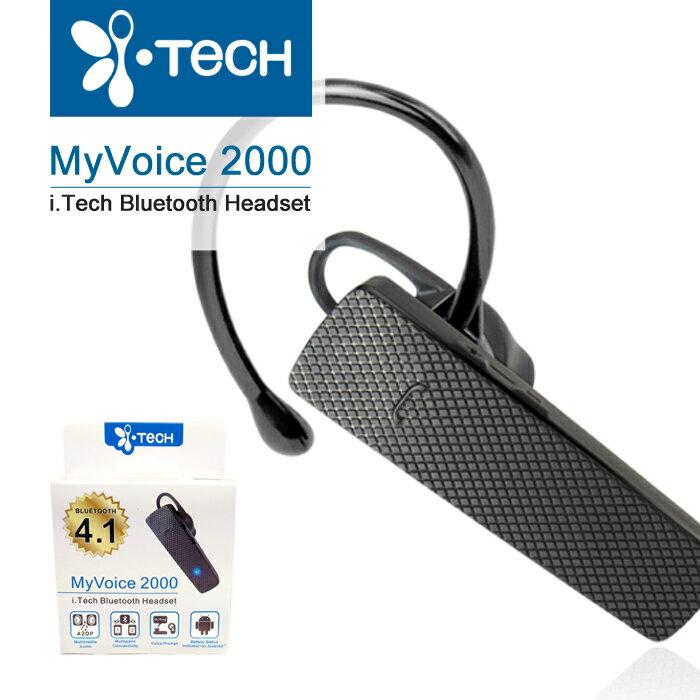 全新『先創公司貨』i-Tech MyVoice 2000 雙待機 立體聲 耳掛式 藍牙耳機 語音撥號 藍芽耳機 最新藍牙4.1 免持聽筒 羽量輕盈 語音提示