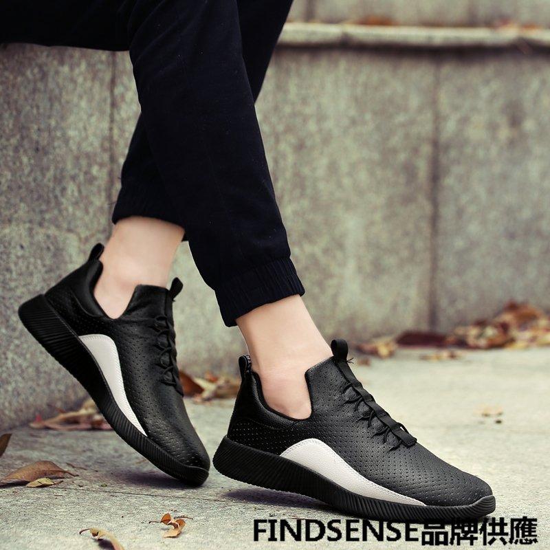 FINDSENSE品牌 四季款 新款 日本 男 高品質 簡約 皮質 休閒 舒適透氣 套腳  輕便運動鞋 潮流鞋子