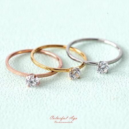 尾戒 氣質單水鑽鋼製戒指 [NC197]