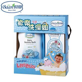 【寶貝樂園】Baan 貝恩歡樂洗澡組「嬰兒泡泡香浴露1000ML+嬰兒洗髮精200ML」