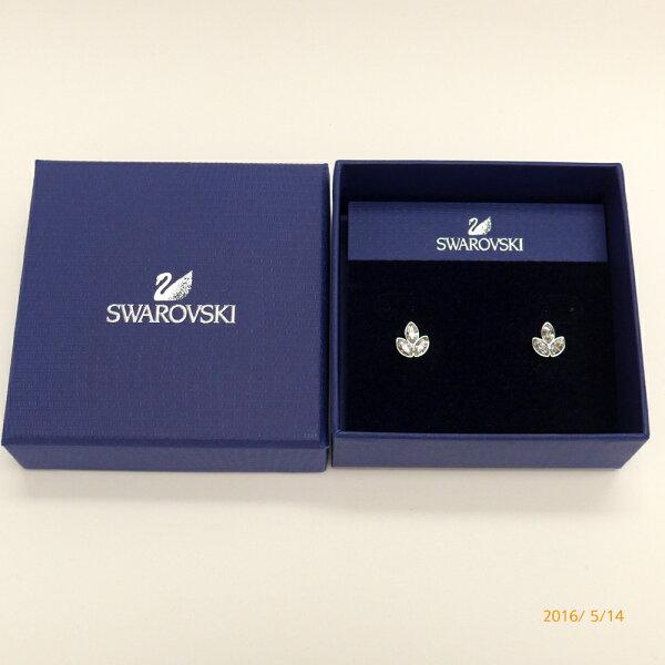 Swarovski#5083131幸運葉透明水晶穿針式耳環禮盒組
