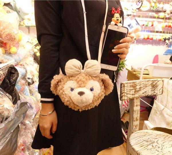 =優生活=日本迪士尼Duffy熊 Shelliemay零錢包22公分立體大頭票夾達菲熊雪莉梅斜肩包