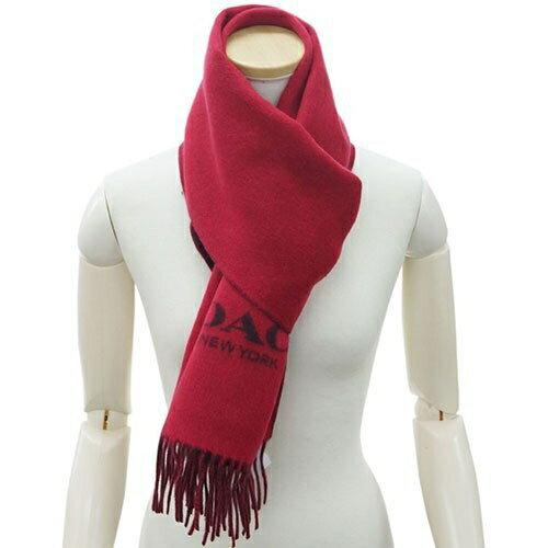 COACH 男女款 羊毛披肩圍巾 (紅) 現貨