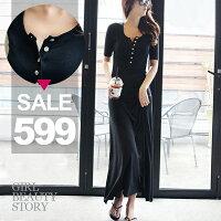 SISI【D6195】 休閒修身圓領單排紐扣修身顯瘦大襬長裙連身裙洋裝-SiSi Girl-流行女裝推薦