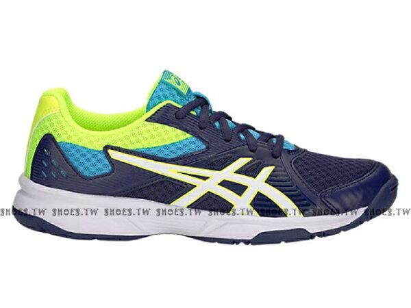 Shoestw【1072A012-400】ASICSUPCOURT亞瑟士排球鞋羽球鞋深藍螢綠女生